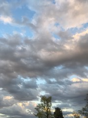 marvelous clouds in spring sky at dusk