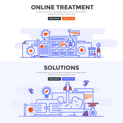 Flat design concept banner -Online Treatment and Solutions
