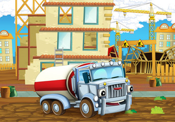 cartoon scene of a construction site with heavy truck cistern - illustration for children