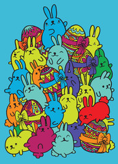 Easter hand drawn vector egg and rabbit.Vector illustration. doodle style
