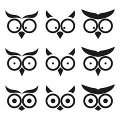 Owl Expression Smiley Icon Set. Isolated on White Background.