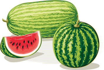 Whole watermelons and a slice of watermelon on a white background.