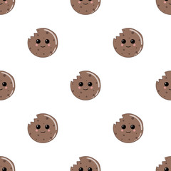 Smiling cookies. Vector illustration. Seamless pattern.