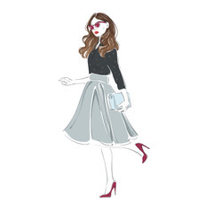 Beautiful young women in a fashion retro clothes, midi skirt and pink sunglasses with bag on high heels. Vector hand drawn illustration.