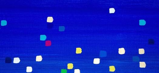 Blauer Hintergrund mit bunten Punkten / Kästchen in Grün, Gelb, Weiß, Schwarz, Rot, Pink, Lila, Violett, Orange, Silber, Gold und Türkis, Gouache, als Hintergrund