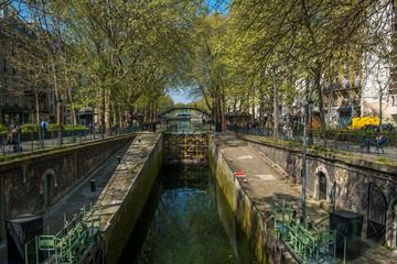 PARIS, FRANCE - APRIL 7, 2017 - St Martin's canal lock in Paris