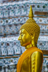 Side view od golden Buddha image