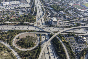 Aerial view of the Glendale 2 and Ventura 134 freeway interchange in the Eagle Rock neighborhood of Los Angeles, California.