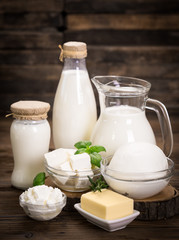 Foto op Canvas Zuivelproducten Fresh dairy products on the wooden table