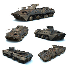 3D illustrations set of damaged Russian APC BTR-80A
