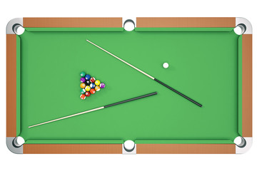 3D illustration Billiard balls on green table with billiard cue, Snooker, Pool game, Billiard concept. Top view
