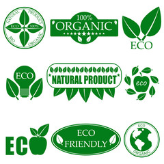 Eco food organic bio products eco friendly badge vegan icon ecology vector