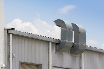 steel air ducts on factory roof, outdoor ventilation industry system