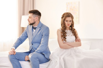 Wedding couple in quarrel at home