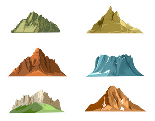 Nature landscapes with green hills and snow mountains cartoon vector set
