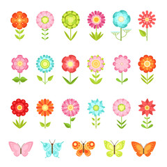 Funny butterfly on flowers in garden. Illustrations of natural flower in flat style isolate on white background