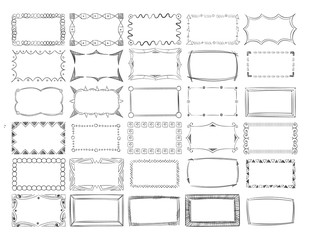 Hand drawn vector line photo frame borders set