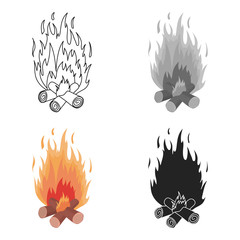 Campfire icon in cartoon style isolated on white background. Light source symbol stock vector illustration