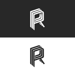 Letter R logo isometric emblem RRR symbol, black and white monogram hipster design element template. Perspective linear geometric shape with shadow.