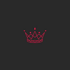 Silhouette crown logo, princess tiara with gem emblem, intersection pink lines stylish royal design element