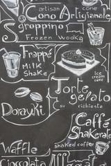 Typical Italian menu written on a blackboard