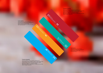 Illustration infographic template with rhombus askew divided to four standalone color parts