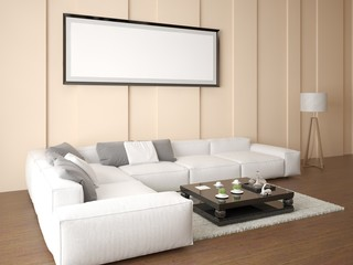 Mock up an empty frame in a bright living room with a stylish corner sofa on a beige background.