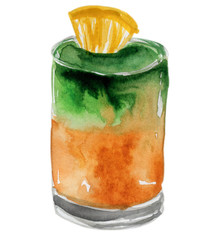 Hand drawn watercolor illustration of summer fresh cocktail. Isolated on the white background.