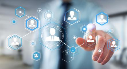 Businessman using digital social network 3D rendering