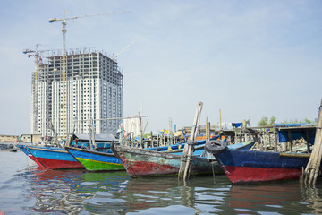 Wooden boats after fishing in the sea