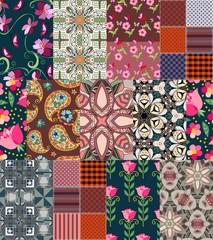Beautiful patchwork pattern with paisley and flowers.