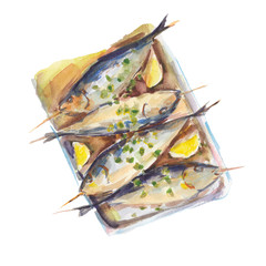 The fried fish with a lemon isolated on white background, watercolor illustration in hand-drawn style.