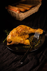 Part of fried chicken with spices