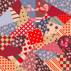 Patchwork pattern with cute cartoon rooster and hen. Print for fabric, paper, wallpaper.