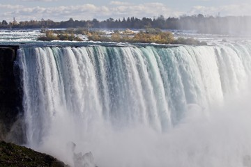 Beautiful postcard with amazing powerful Niagara waterfall