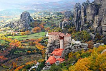 Meteora Rocks and Roussanou Monastery, Greece Wall mural