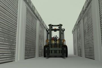 3d illustration of a forklift among self storage units