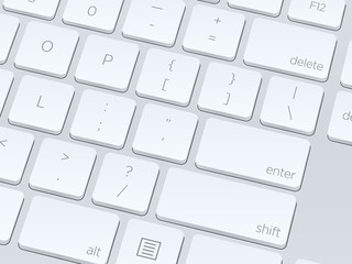 White computer keyboard. Close up image. Vector illustration background.