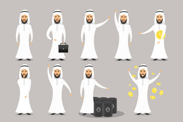 Vector collection of cartoon arab businessman character on the gray background.
