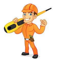 Electrician carrying screwdriver