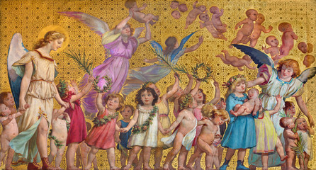 TURIN, ITALY - MARCH 15, 2017: The symbolic fresco of holy innocents children with the angels in church Chiesa di San Dalmazzo by Enrico Reffo (1831-1917).