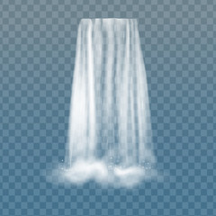 Realistic vector waterfall with clear water and bubbles. Natural element for design landscape images. Isolated on transparent background.