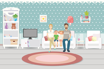 Living room interior with furniture. Happy family. Flat design.