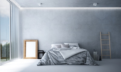 The 3d rendering interior of minimal bedroom and concrete wall