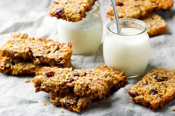 Cranberry Granola Bars with yogurt. style vintage.