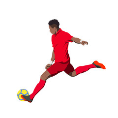 Soccer player kicking ball, isolated vector illustration. Footballer in red jersey