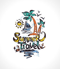 Summer Travel. Hand drawn inscription with palm trees, sun, sailfish. Vector template for card, poster, invitation, t-shirt and more.