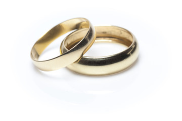 2 Wedding Rings on White Background