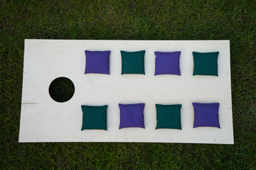Cornhole Board Flat Lay with green and purple beanbags on grass
