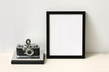 Vintage camera and photo frame